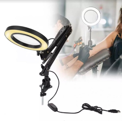 Led table lamp with magnifying glass